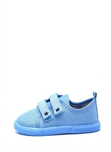 First Step Çift Cırtlı Yıldız Nakışlı Çocuk Keten Ayakkabı--F-497 Mavi